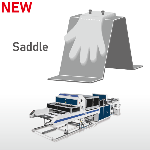 Fully Automatic High Speed Disposable Plastic Gloves Making Machine / SSD-800-HGL(Saddle)