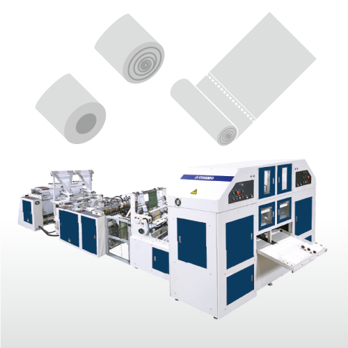 Fully Automatic High Speed 2 Lines With Core & Coreless Bag on roll Making Machine/SRCR-40_50