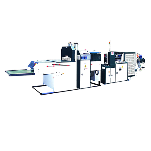 Twin-line high-speed T-shirt bag making machine (Hot-cut system) + Auto-packaging system TPFA-V+AP