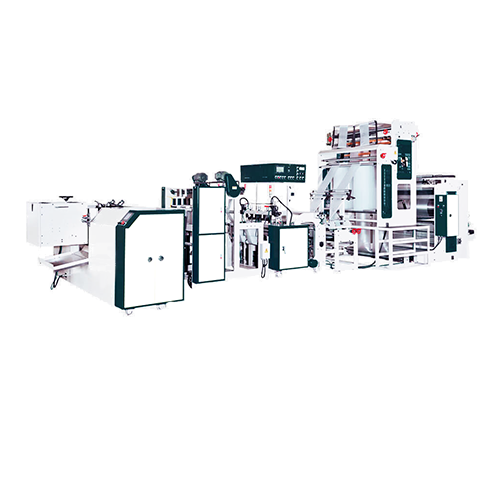 Fully automatic bottom seal bag on roll making machine + heat-slitting & post-gusset system