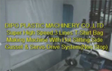 Super High Speed 3 Lines T-Shirt Bag Making Machine With Hot Slitting,Side Gusset & Servo-Drive System(Non Stop)