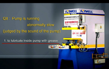 Q8.Pump is running abnormally slow(judged by the sound of the pump)